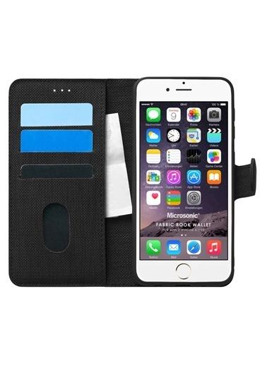 Microsonic Apple iPhone 6 Kılıf Fabric Book Wallet Siyah